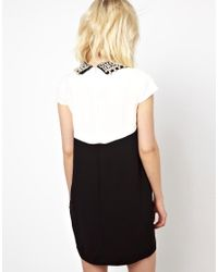 Beloved - Black Shift Dress with Embellished Collar - Lyst