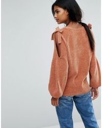 Vila | Multicolor Knitted Sweater With Bow Detail | Lyst
