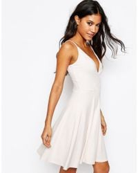 ASOS - Natural Strappy Back Wrap Front Mini Skater Dress - Lyst