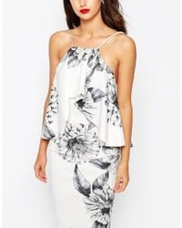 ASOS - Multicolor Mono Floral Ruffle Scuba Midi Dress - Lyst