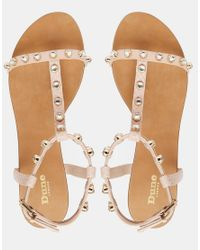 Dune - Brown Blush Snake Studded Gladiator Sandals - Lyst
