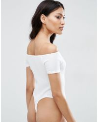 ASOS | White The Halter Neck Body In Rib With Thong - Black | Lyst