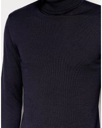 ASOS - Blue Longline Roll Neck Jumper In Cotton - Navy for Men - Lyst