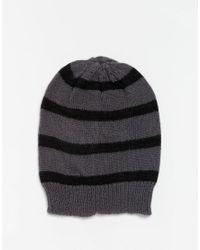 Hat Attack - Gray Stripe Beanie Hat - Lyst