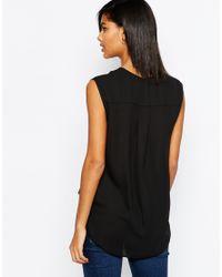 ASOS - Sleeveless Drape Wrap Blouse - Black - Lyst