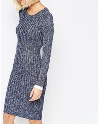 SELECTED - Blue Giny Bodycon Dress In Rib Knit - Lyst