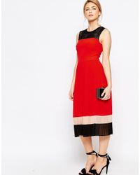 Oasis - Black Colourblock Pleat Dress - Lyst