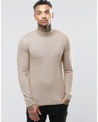 75e8113b Lyst - ASOS Muscle Fit Turtle Neck Jumper In Cotton in Gray for Men