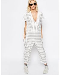 ASOS - Multicolor White Stripe Jumpsuit - Lyst