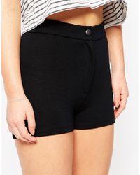 ASOS - High Waist Stretch Shorts - Black - Lyst