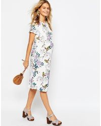 ASOS - Blue Dress In Vintage Floral Print With Ruffle Sleeve - Lyst