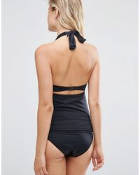 ASOS - Black Exclusive Swimwear Tankini Top With Bow Front - Lyst