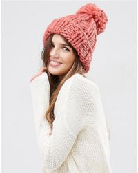 ASOS | Extra Chunky Beanie With Extra Large Pom - Red | Lyst