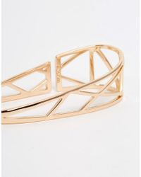 Pilgrim - Metallic Rose Gold Plated Geo Palm Bangle - Lyst