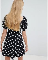 Monki - Black Polka Dot Fit And Flare Dress - Lyst
