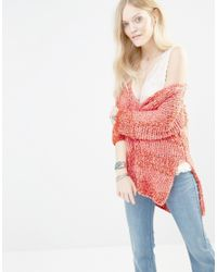 Free People | Red Georgia V Neck Knitted Jumper | Lyst