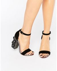 Lost Ink | Black Darima Floral Block Heeled Sandals | Lyst