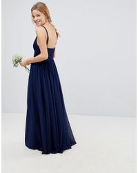 ASOS - Blue Design Bridesmaid Cami Maxi Dress With Lace Insert - Lyst