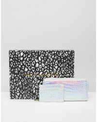 French Connection - Boxed Wallet And Card Holder Gift Set In Metallic Mock Croc - Lyst