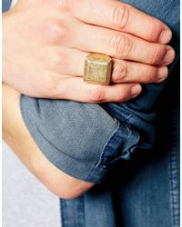 Icon Brand - Metallic Premium Signet Ring In Gold for Men - Lyst