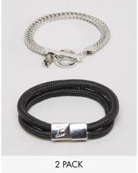 Icon Brand | Black Chain & Woven Bracelets In 2 Pack for Men | Lyst
