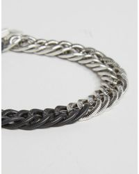 Icon Brand - Mixed Metal Chain Bracelet In Black/silver - Black for Men - Lyst