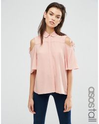 ASOS | Pink Casual Blouse With Tie Sleeve | Lyst