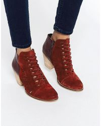 Free People | Loveland Red Leather Ankle Boots | Lyst