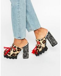 House of Holland | Multicolor Leopard Print Cleated Mule Heeled Shoes | Lyst