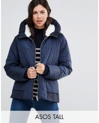ASOS | Blue Padded Jacket With Faux Fur Hood And Knitted Trim | Lyst