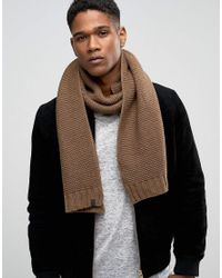 SELECTED | Natural Scarf In Textured Knit for Men | Lyst