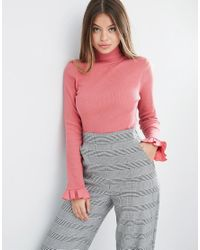 ASOS - Red Top With Polo Neck And Ruffle Sleeve - Lyst