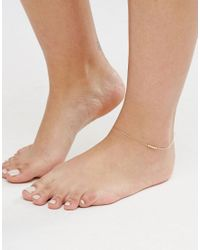 ASOS - Metallic Pack Of 2 Fine Ball Charm Anklets - Lyst