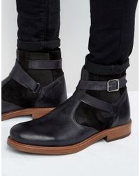 ASOS | Chelsea Boots In Black Leather With Faux Shearling Lining for Men | Lyst