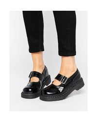 T.U.K. | Black . Wingtip Brogues Mary Jane Chunky Leather Flat Shoes | Lyst