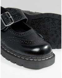 T.U.K. - Black . Wingtip Brogues Mary Jane Chunky Leather Flat Shoes - Lyst