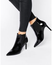Office | Black Angle Point Heeled Ankle Boots | Lyst