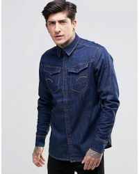 G-Star RAW - Blue Arc 3d Denim Shirt for Men - Lyst