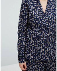 Fashion Union - Blue Printed Blazer Co-ord - Lyst