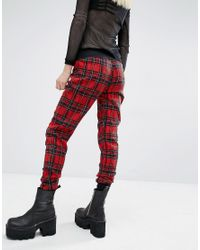 Tripp Nyc - Red Check Joggers - Lyst