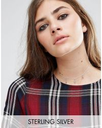 ASOS | Metallic Sterling Silver Station Charm Choker Necklace | Lyst