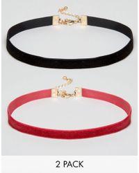 ASOS - Black Velvet Pack Of 2 Choker Necklace - Lyst