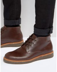 ASOS - Red Boots With Cork Sole In Burgundy Leather for Men - Lyst