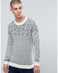 SELECTED   Natural Pattern Stitch Crew Neck for Men   Lyst