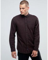 SELECTED - Brown Narrow Collar Long Length Shirt for Men - Lyst