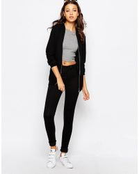 New Look - Black Longline Bomber Jacket - Lyst