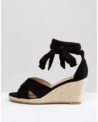 06d3576287e Truffle Collection Black Wide Fit Espadrille Wedge Sandal