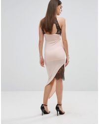Sistaglam - Multicolor Pencil Dress With Asymmetric Hem And Lace Inserts - Lyst