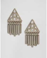 Oasis | Metallic Asis Tri Fringe Stud Earrings | Lyst