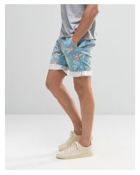 Bellfield - Blue Floral Printed Shorts With Belt for Men - Lyst